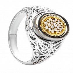 Серебряное кольцо с позолотой и фианитами Антуанетта