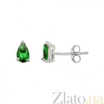 Серебряные серьги пусеты с зеленым цирконом AQA--220500151/4G