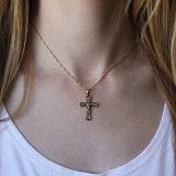 Серебряный крест Внутренняя молитва с позолотой и чернением