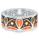 Мужское обручальное кольцо из белого золота с эмалью Талисман: Добра