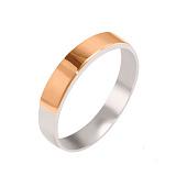 Серебряное кольцо с золотой вставкой Обручка, 4мм
