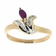 Золотое кольцо Одетта из красного золота с рубином
