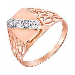 Перстень-печатка из красного золота с фианитами и родированием 000133660