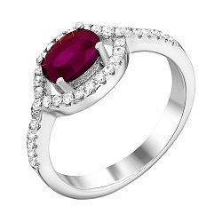Серебряное кольцо с рубином и фианитами 000133608