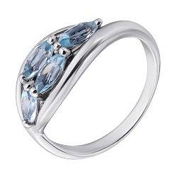 Золотое кольцо Воздушный поцелуй в белом цвете с голубыми топазами