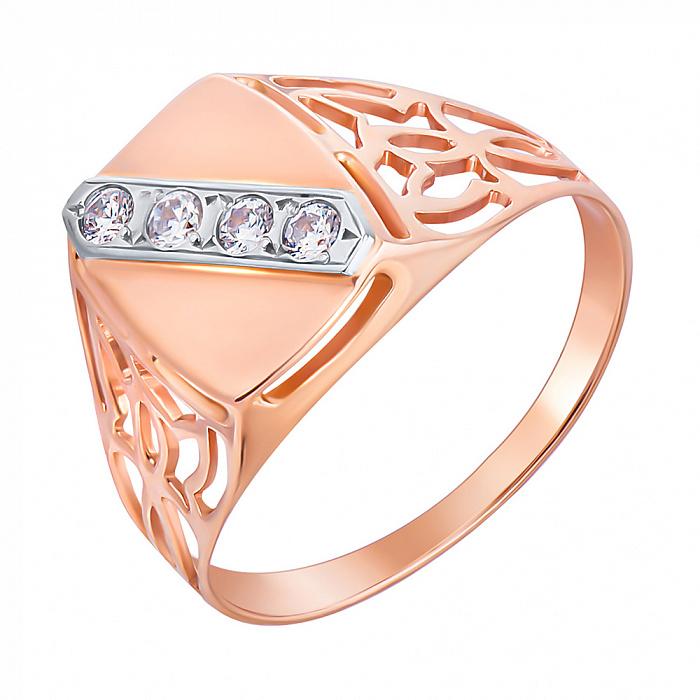 Перстень-печатка из красного золота с фианитами и родированием 000133660 000133660