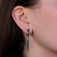 Серебряные серьги Паула с зелеными агатом и кварцем