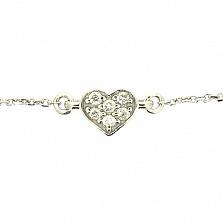 Серебряный браслет с цирконием Сердце