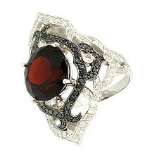Золотое кольцо с бриллиантами и гранатом Devi