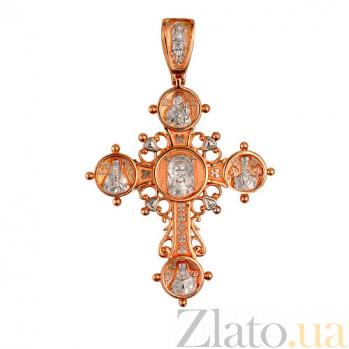 Золотой крестик с белым родием Лучезарный VLT--КС3007-2
