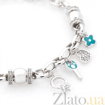 Браслет из белого золота Весна любви с голубой эмалью и фианитами 000082262