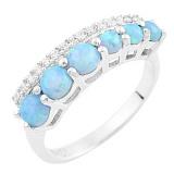 Серебряное кольцо Ханна с опалами и фианитами