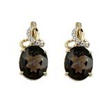 Золотые серьги с бриллиантами и раухтопазами Мара