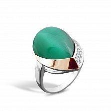 Серебряное кольцо Хильдегарда с золотой накладкой, зеленым улекситом, фианитами и родием