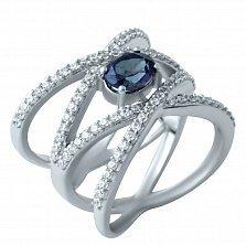 Серебряное кольцо Алджерона с александритом и фианитами