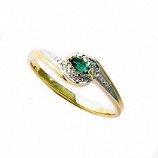 Кольцо из желтого золота Патрисия с изумрудом и бриллиантами