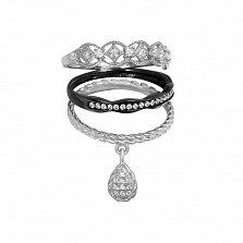 Серебряное тройное кольцо Настроение с фианитами и чернением
