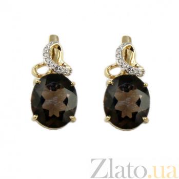 Золотые серьги с бриллиантами и раухтопазами Мара ZMX--ERt-6632_K