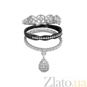 Серебряное тройное кольцо Настроение с фианитами и чернением 000082022
