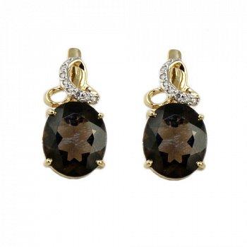 Золотые серьги с бриллиантами и раухтопазами 000021799