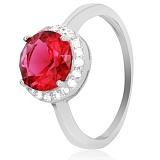 Серебряное кольцо Лебертина с красным фианитом