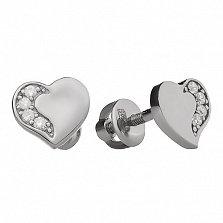 Серебряные серьги-пуссеты Инь-Янь с фианитами