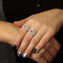 Серебряное кольцо на два пальца Катрина с цирконием