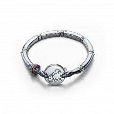 Серебряный браслет для шармов Змеевик с фианитами