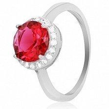 Серебряное кольцо Рашель с рубиновым фианитом
