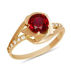 Золотое кольцо Бурбонская роза с синтезированным рубином и дорожками белых фианитов 000090638