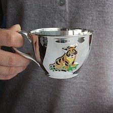 Серебряная чашка Тигренок с эмалью, 250мл