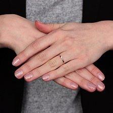 Золотое помолвочное кольцо Вивьен с бриллиантом в родированном касте