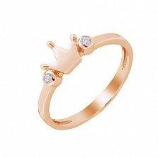 Серебряное кольцо Корона царевны в позолоте с фианитами
