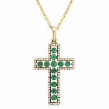 Крестик в желтом золоте Нега с бриллиантами и изумрудами