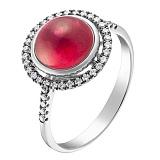 Кольцо в белом золоте Нонна с рубином и бриллиантами