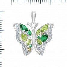 Серебряный подвес Императорская бабочка с зелеными и белыми фианитами