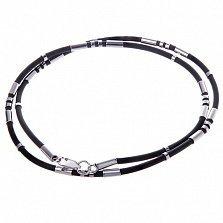 Каучуковый шнурок Вирит с серебряными вставками