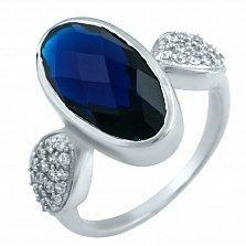 Серебряное кольцо Моника с синтезированным сапфиром и фианитами