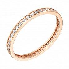 Золотое кольцо Лианора с дорожкой фианитов по всей шинке
