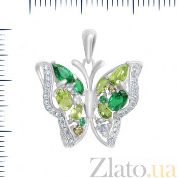 Серебряный подвес Императорская бабочка с зелеными и белыми фианитами 000082034
