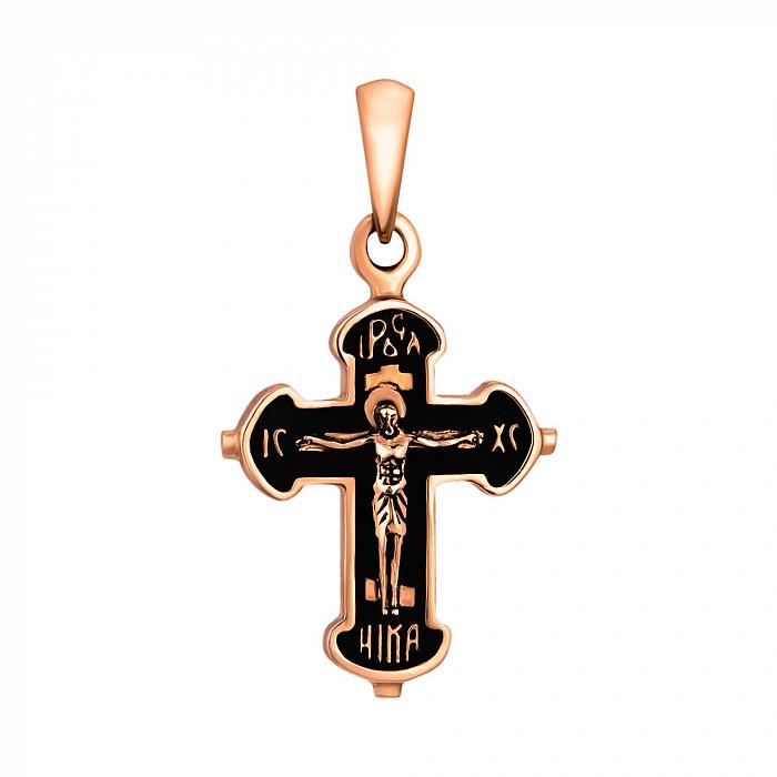Золотой черненный крестик Мирра на фигурной основе 000101719 000101719