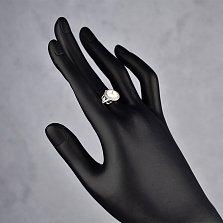 Серебряное кольцо Часики с белыми эмалью и фианитами