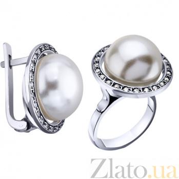 Серебряные серьги с жемчугом Глория AUR--72228б*