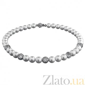 Золотой гарнитур с жемчугом и бриллиантами Сильва KBL--Г0157/бел/жем
