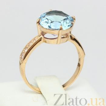 Золотое кольцо с голубым топазом и фианитами Эстель 000024498