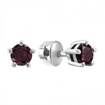 Серебряные серьги-пуссеты с рубинами, 7мм 000010927