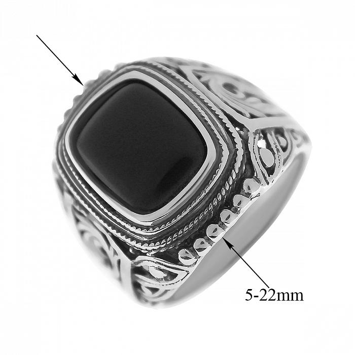 Серебряный перстень Арктур с черным ониксом и шинкой в лиственных узорах 000080539