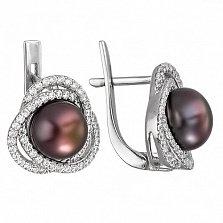 Серебряные серьги Розочка с черным жемчугом и фианитами
