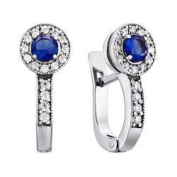 Серебряные серьги Джоанна с синим альпинитом и белыми фианитами