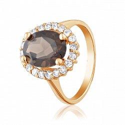 Кольцо в красном золоте Пилар с раухтопазом и фианитами